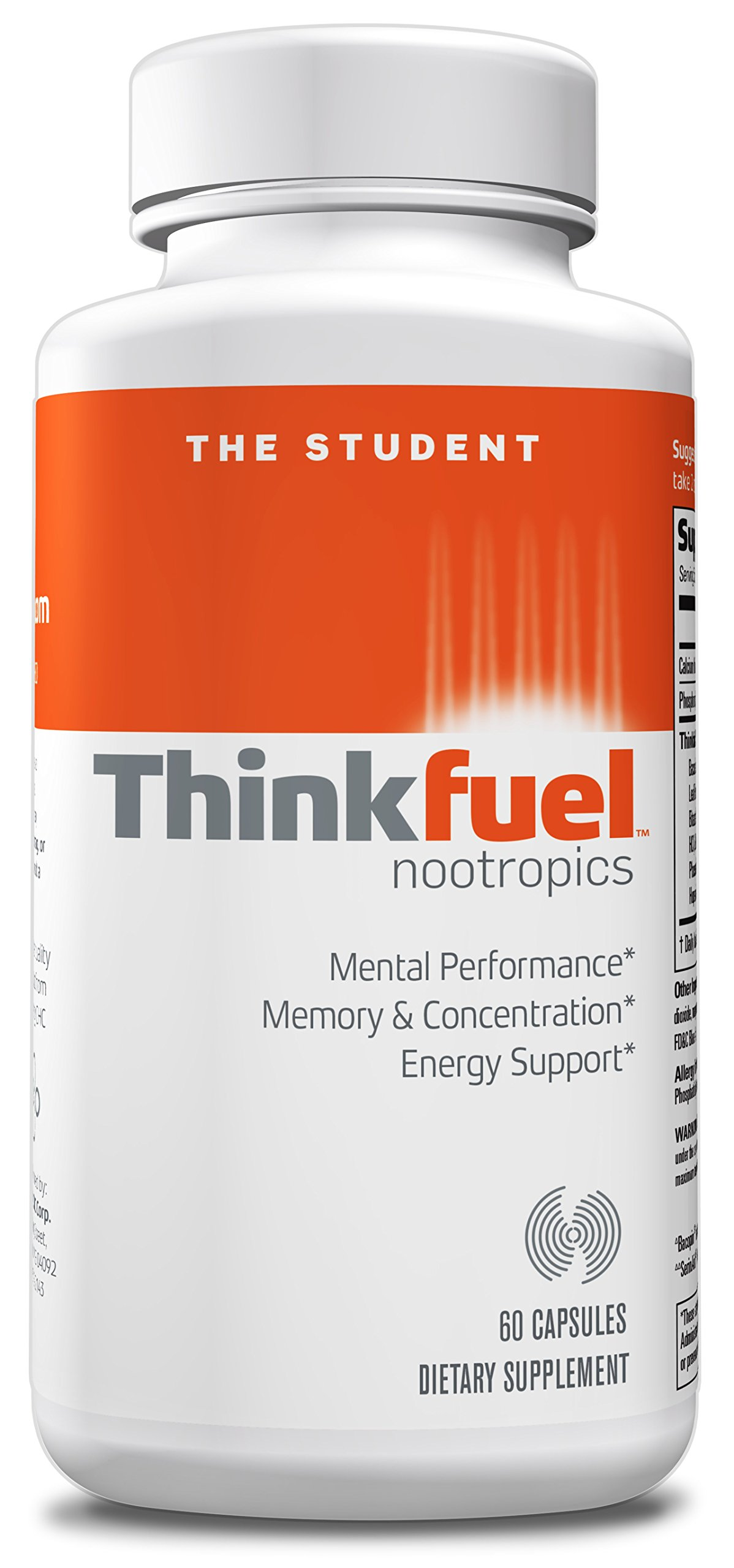 Thinkfuel For Students | Powerful Nootropic Dopamine Stack to Boost Memory, Concentration & Energy w/ DMAE, Ginkgo Biloba, L- Glutamine, and Caffeine. (60 Capsules) by Focus Factor