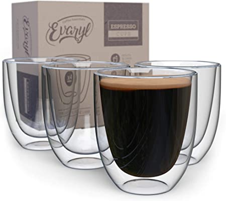 6oz // 200ml Teabloom Modern Classic Insulated Cups Double Walled Glass Cups for Tea or Coffee Set of 4