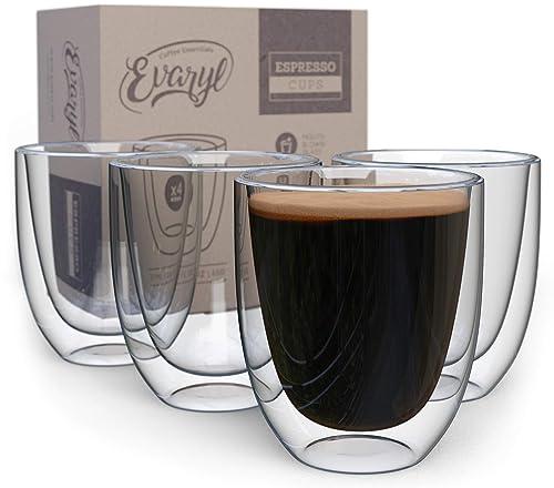 Szklane, przezroczyste, dwuścienne filiżanki do espresso (zestaw 4)