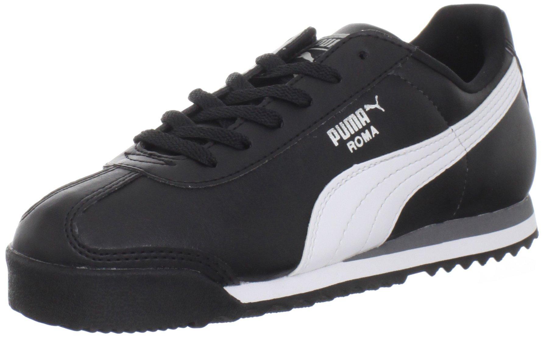 PUMA Roma Basic JR Sneaker (Little Kid/Big Kid) , Black/White/Puma Silver, 7 M US Big Kid