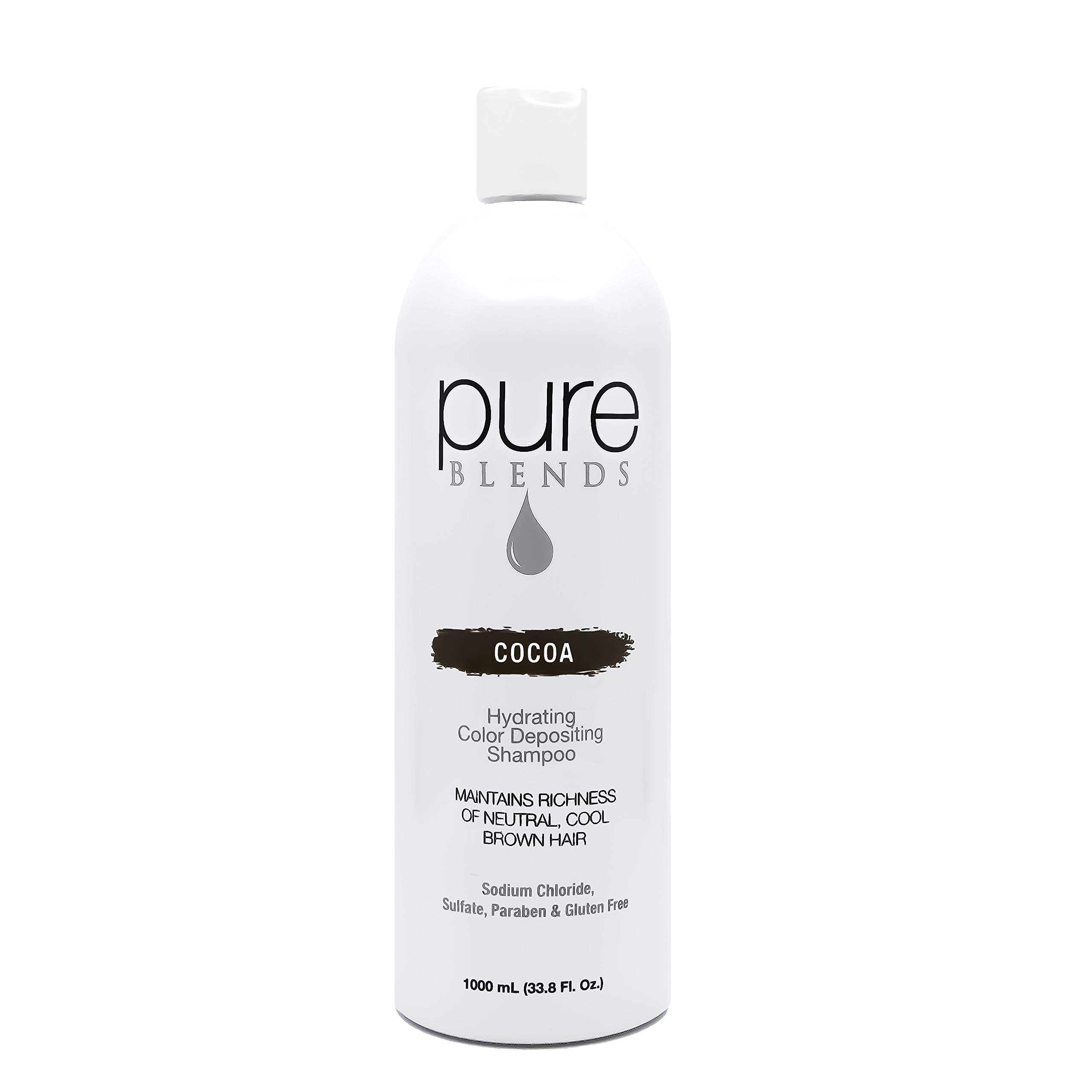 Pure Blends Hydrating Color Depositing Shampoo - Cocoa (Neutral Cool Brown Hair) 33.8 Ounce - Salon Quality by Pure Blends