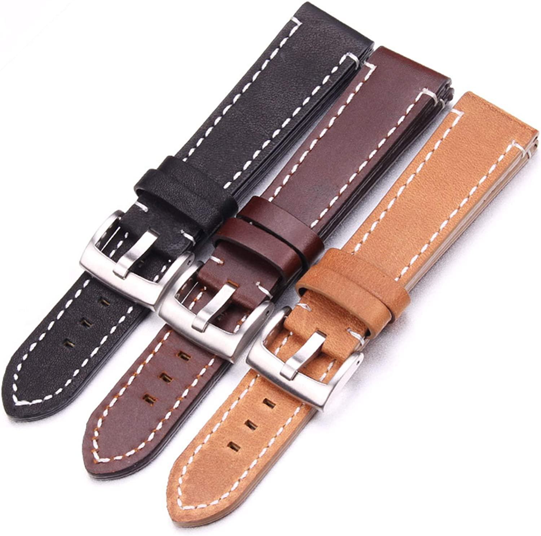 Glattes echtes Leder Uhrenarmband Armband 18 20 22 24 mm Schwarz Dunkelbraun Vintage Uhrenarmbänder Gürtel Silber Schwarz Schnalle Dark Brown Silver
