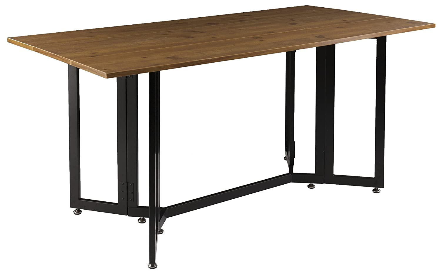 Holly & Martin Driness Drop Leaf Console Dining Table, Weathered Oak Finish with Black Metal Base