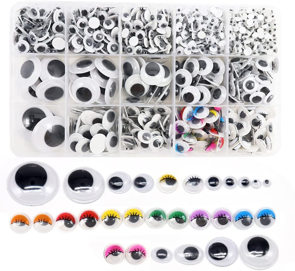 1 Box/Menge (Approx.1120 Pcs) 4-25Mm Plastic Self-Adhesive Googly Wiggle Eyes (4-25Mm)