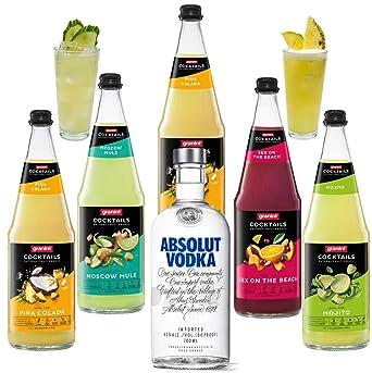 cóctel de vodka granini Premix 5 x 1l botellas de vidrio y 1 ...