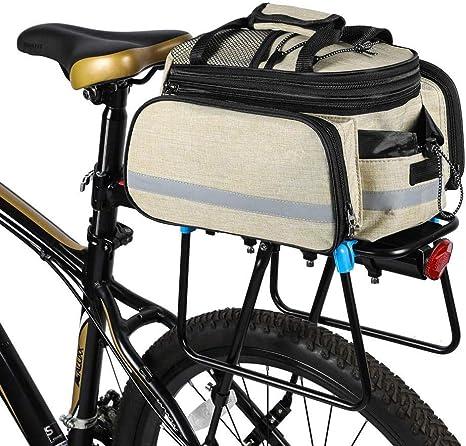 Alforja Trasera de Bicicleta Bolsa para Asiento Trasero de Bicicleta Estante de Ciclismo Alforja de supermercado Bolsa de Almacenamiento de Bicicleta de Carretera 12 Pulgadas, Color Crema: Amazon.es: Deportes y aire libre