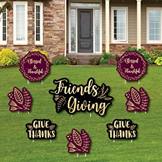 product image for Big Dot of Happiness Elegant Thankful for Friends - Yard Sign and Outdoor Lawn Decorations - Friendsgiving Thanksgiving Party Yard Signs - Set of 8