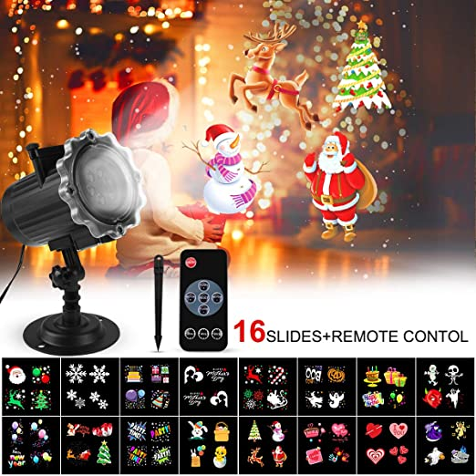 Proyector Navidad LED, FOCHEA Luces de Proyector Interior y Exterior con 16 Diapositivas Reemplazables y Control Remoto RF para Halloween, Navidad, ...