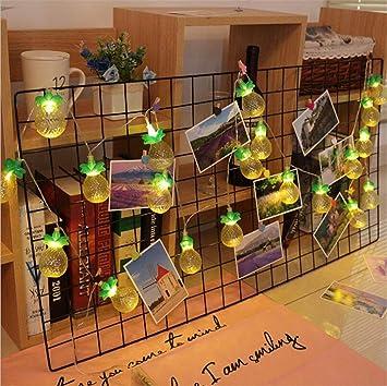 LY-JFSZ Cadena De Luces,Piña Jardín Pared Boda Fiesta De Navidad Habitación Exterior Cubierta Decoraciones De Navidad 1.5M 10LED Funciona con Batería: Amazon.es: Deportes y aire libre