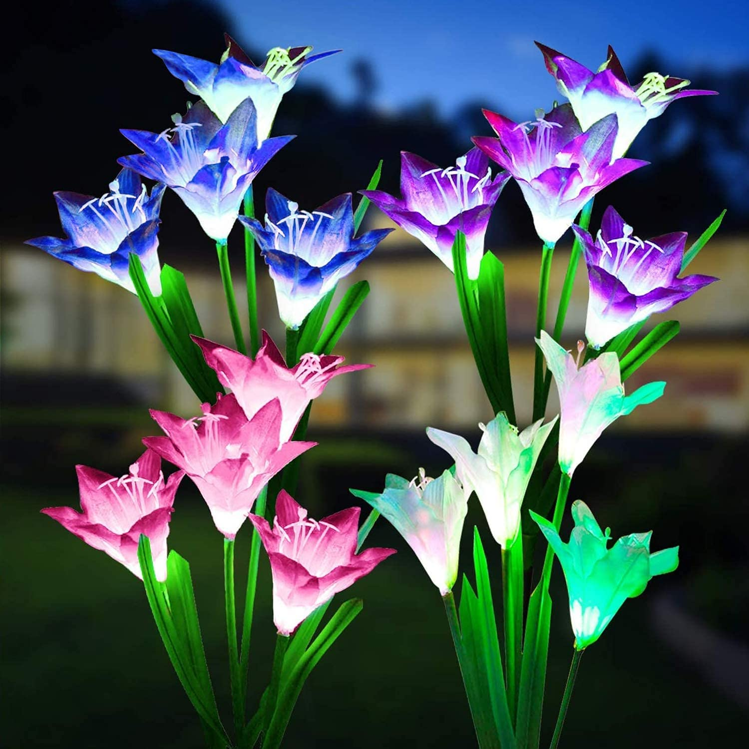 Devo Upgraded Solar Lights Outdoor Color Changing Lily Solar Flower Lights Solar Garden Lights 4Pack Decorative 16 Lily Flowers LED Light Waterproof Garden Patio Pathway(Blue,White,Red,Purple)