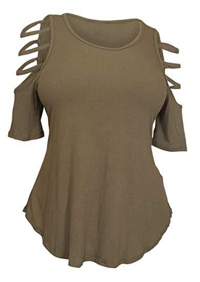 6d9724a8ebd eVogues Plus Size Ribbed Cut Out Short Sleeve Top Olive at Amazon ...