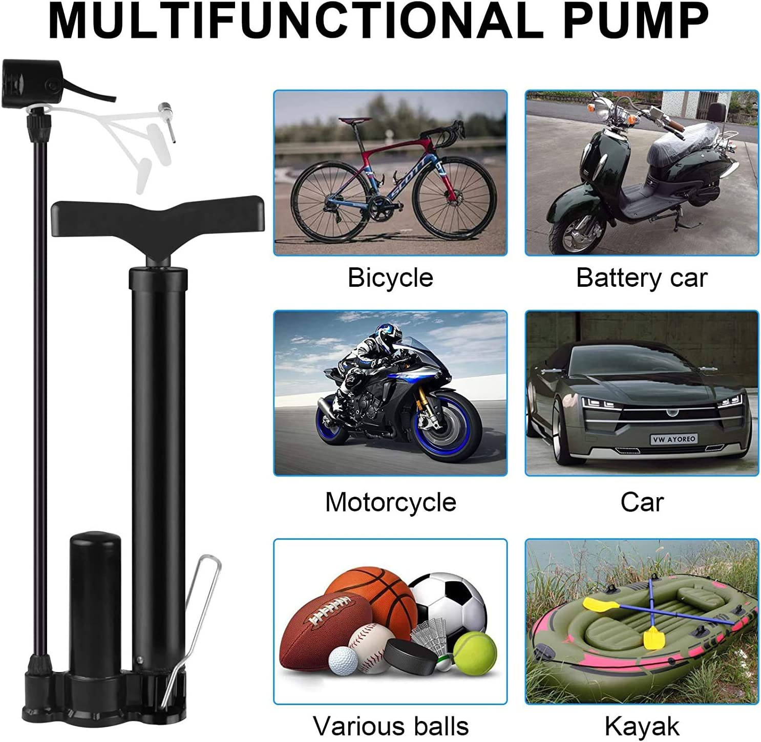 160 PSI bomba de aire port/átil para neum/áticos de bicicleta con v/álvulas Presta y Schrader para bicicletas de monta/ña de carretera BESELER Bomba de aire para bicicleta de alta presi/ón