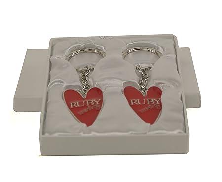 Th anniversary gift ruby wedding anniversary keyring set
