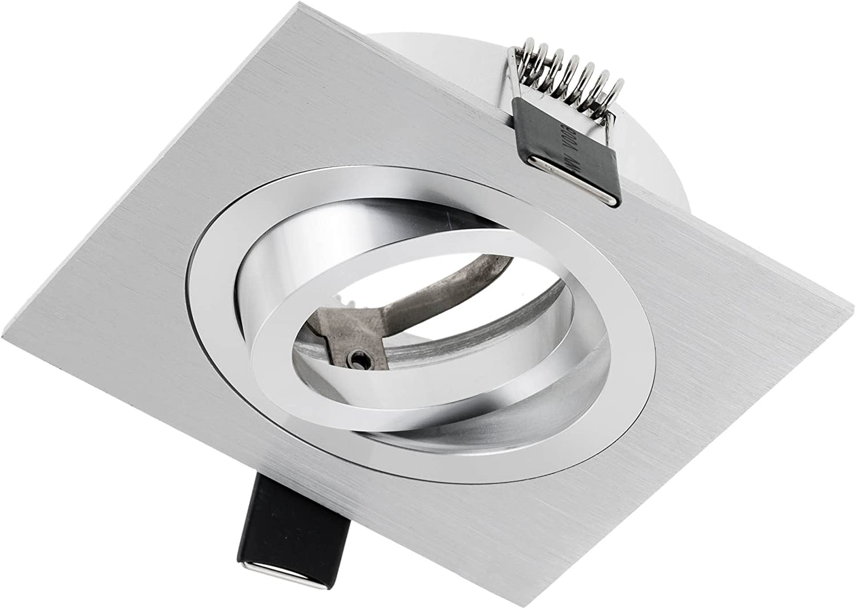 Orificio de montaje /ø80mm GU10 bombilla 3,5W LED 93x93x25mm orientable SEBSON Foco empotrable Techo cuadrado incl aluminio mate