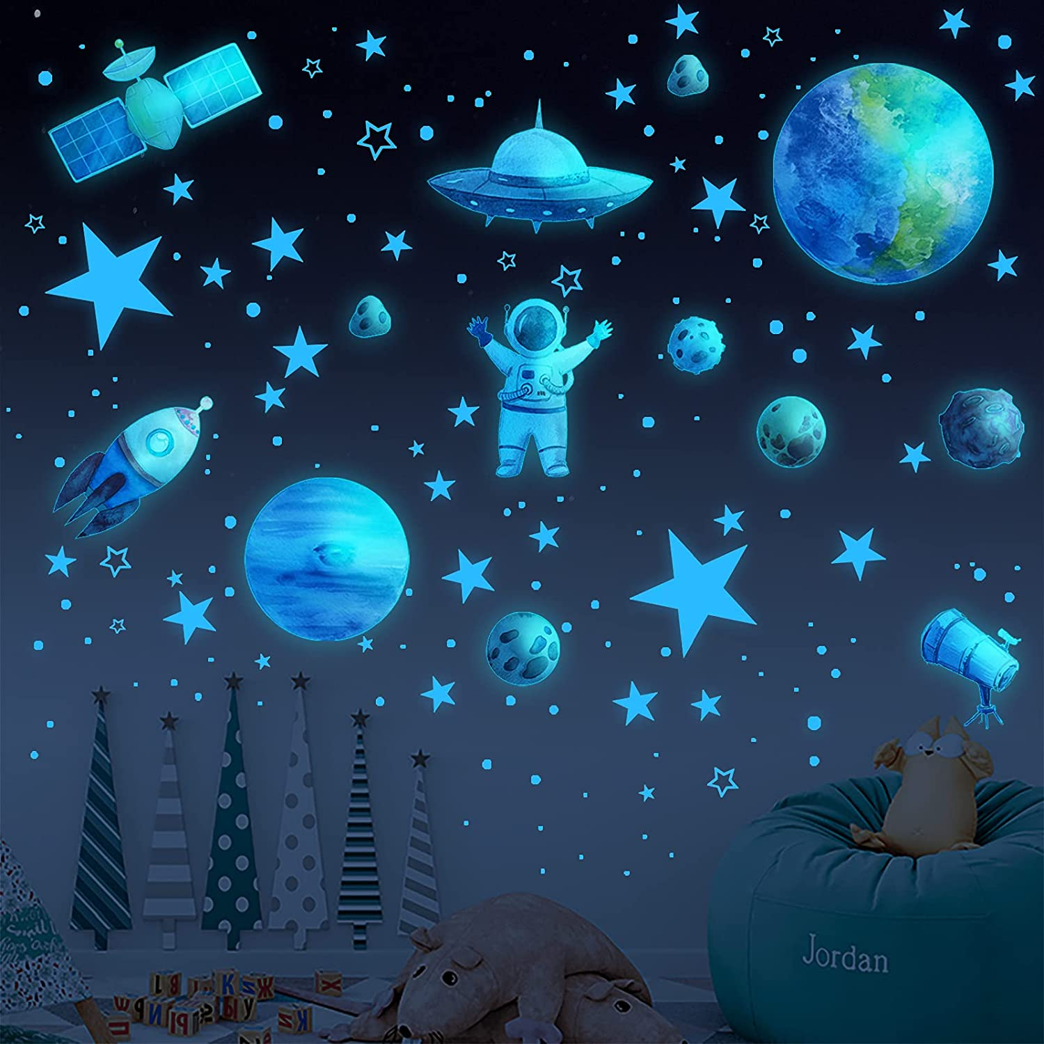 Glow in The Dark Stars for Ceiling,1008PCS Glow in The Dark Stars and Planet Wall Stickers,Planet Wall Decals,Bright Solar System Wall Stickers for Kids, lanets Spaceship Stars Decal Decor