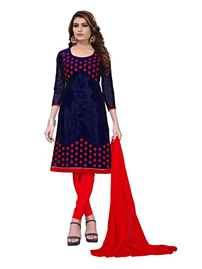 e7dc9c0e87 Applecreation Women'S Chanderi Unstitched Salwar Suit Material (Navy  Blue_Free Size): Amazon.in: Clothing & Accessories