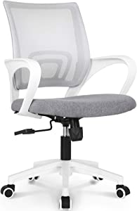 NEO CHAIR Office Chair Computer Desk Chair Gaming - Ergonomic Mid Back Cushion Lumbar Support with Wheels Comfortable Blue Mesh Racing Seat Adjustable Swivel Rolling Home Executive, Grey