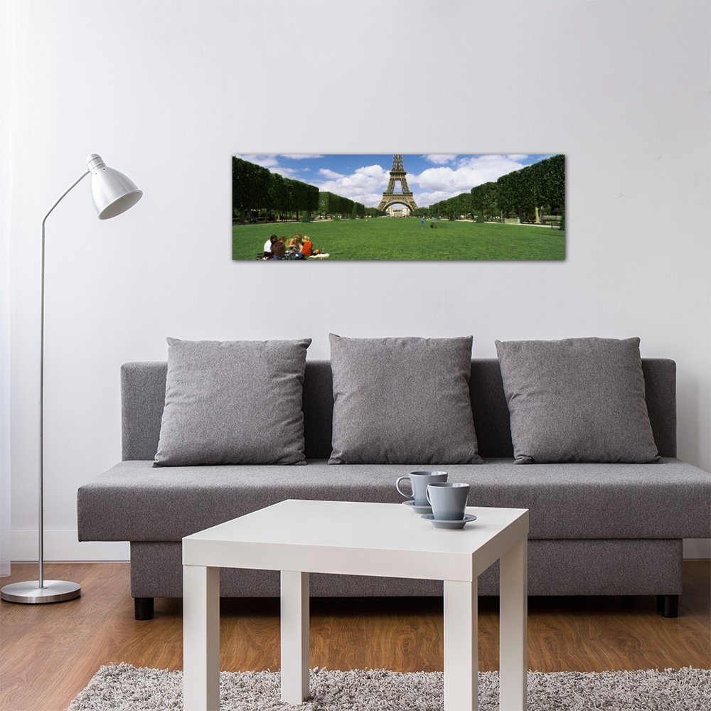 1.5 by 48 by 16-Inch Paris Eiffel Tower France Canvas Print by Panoramic Images iCanvasART 3-Piece Tourists Sitting in a Park with a Tower in The Background ILE-de-France