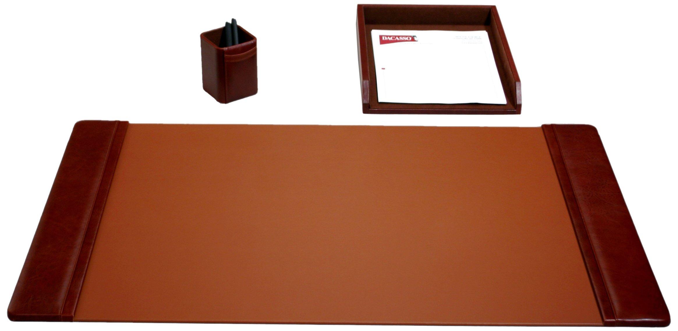 Dacasso Leather Desk Set, 3-Piece, Mocha