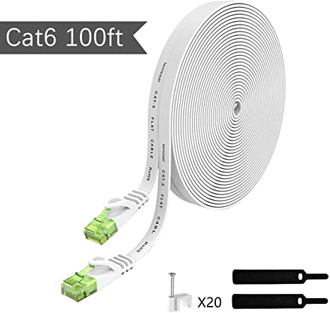 White 100ft with Cable Clips PVC Jacket 32AWG Bare Copper Conductor 100ft White Cat6 Cable-Flat Ethernet Cable Cat 6 Patch Cord