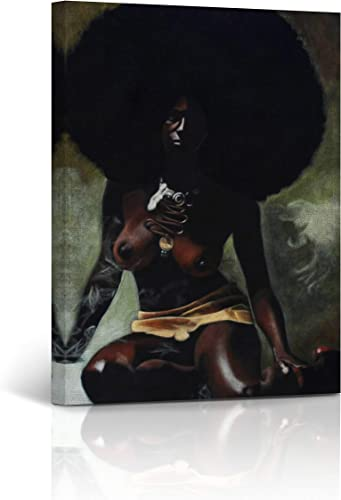 Buy4Wall Nude Woman African Wall Art Canvas Print Afro Hairs Decorative Art Home Decor Artwork Stretched and Framed