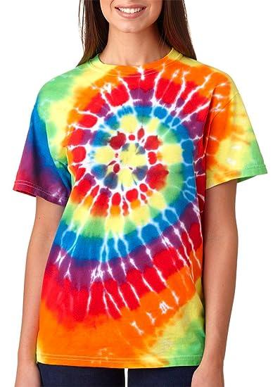 b03b3eac676 Gildan 70 Tie Dye Mens Rainbow Swirl Tie-Dye Tee Crew Neck T Shirt S