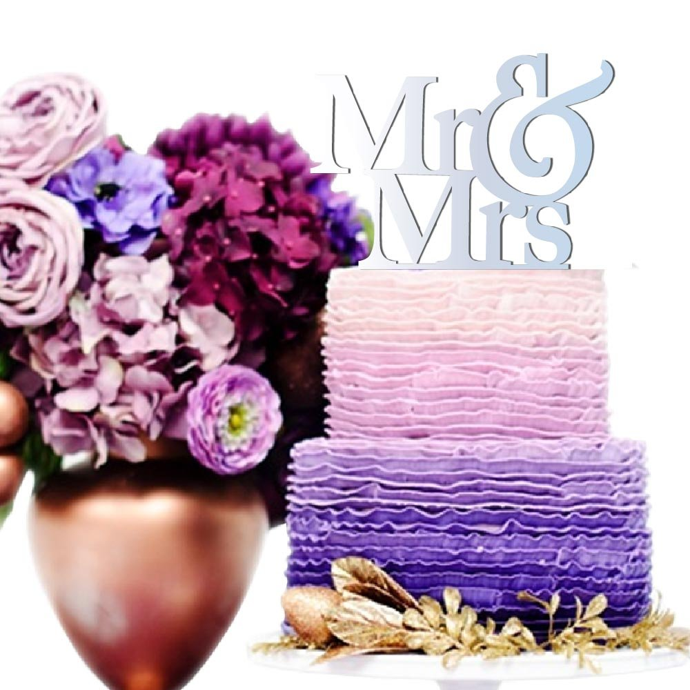 Amazon.com: Mr & Mrs Weding Cake Topper Mr & Mrs Sign for Wedding ...