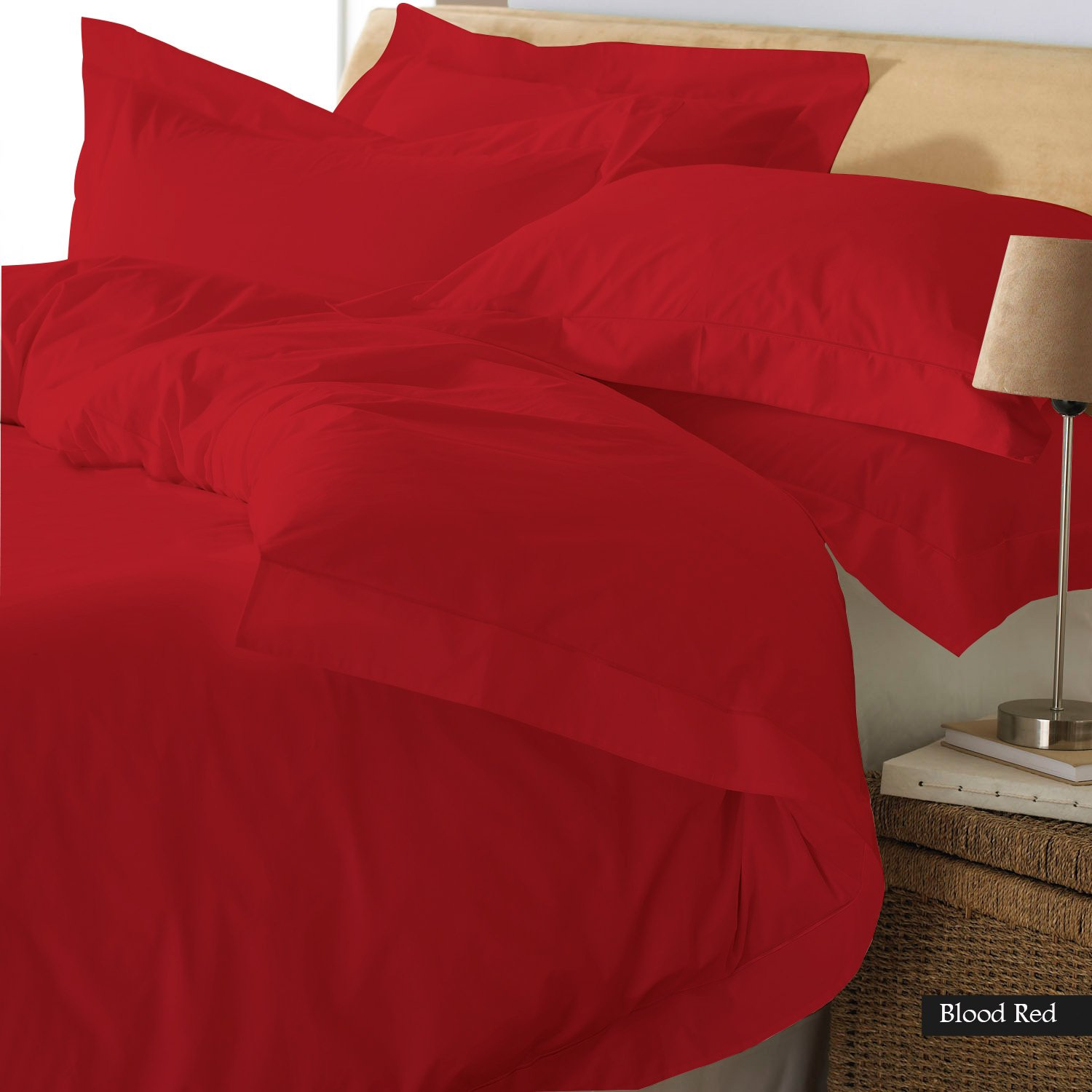 FINE LECHO Egyptian Cotton Luxury Hotel Quality 3-Piece Duvet Cover Set (Zipper Closure & Corner Ties) with 1-Piece Fitted Sheet in 18'' deep 800TC Modern Style Set (Olympic Queen, Blood Red)