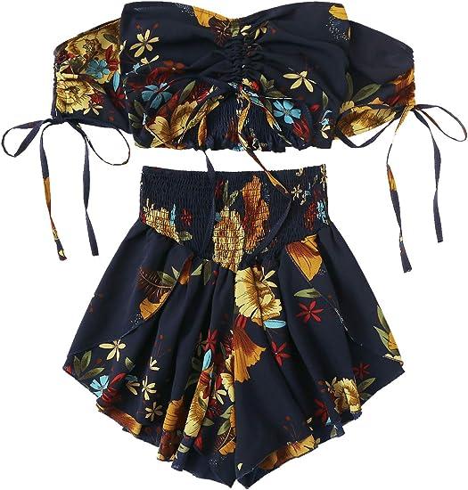 Shein Conjunto De Dos Piezas Boho Floral Conjunto De Blusa Corta Y Pantalones Cortos Con Cordon Para Mujer Amazon Com Mx Ropa Zapatos Y Accesorios