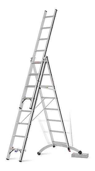 Hymer Serie ALU-PRO Teleskopleiter Kombileiter Anlegeleiter Reichh/öhe 4,87 m DIN EN 131 4x4 Sprossen
