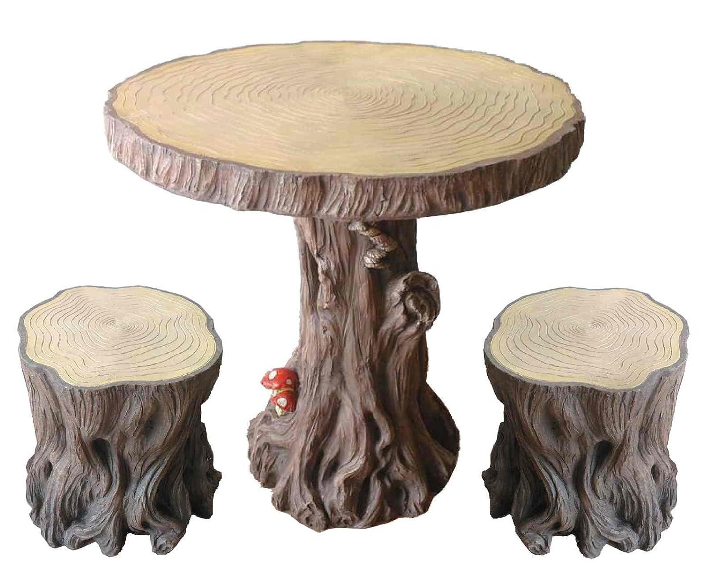 Tree stump table - Amazon Com Woodland Tree Table Stump Stools Set Patio Lawn Garden