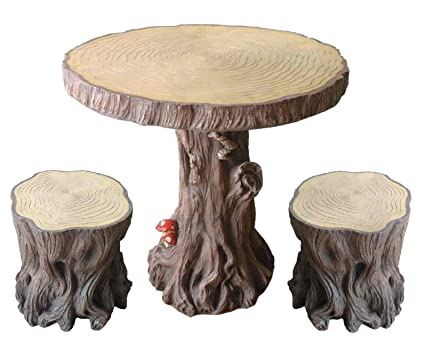 Surprising Amazon Com Woodland Tree Table Stump Stools Set Garden Camellatalisay Diy Chair Ideas Camellatalisaycom