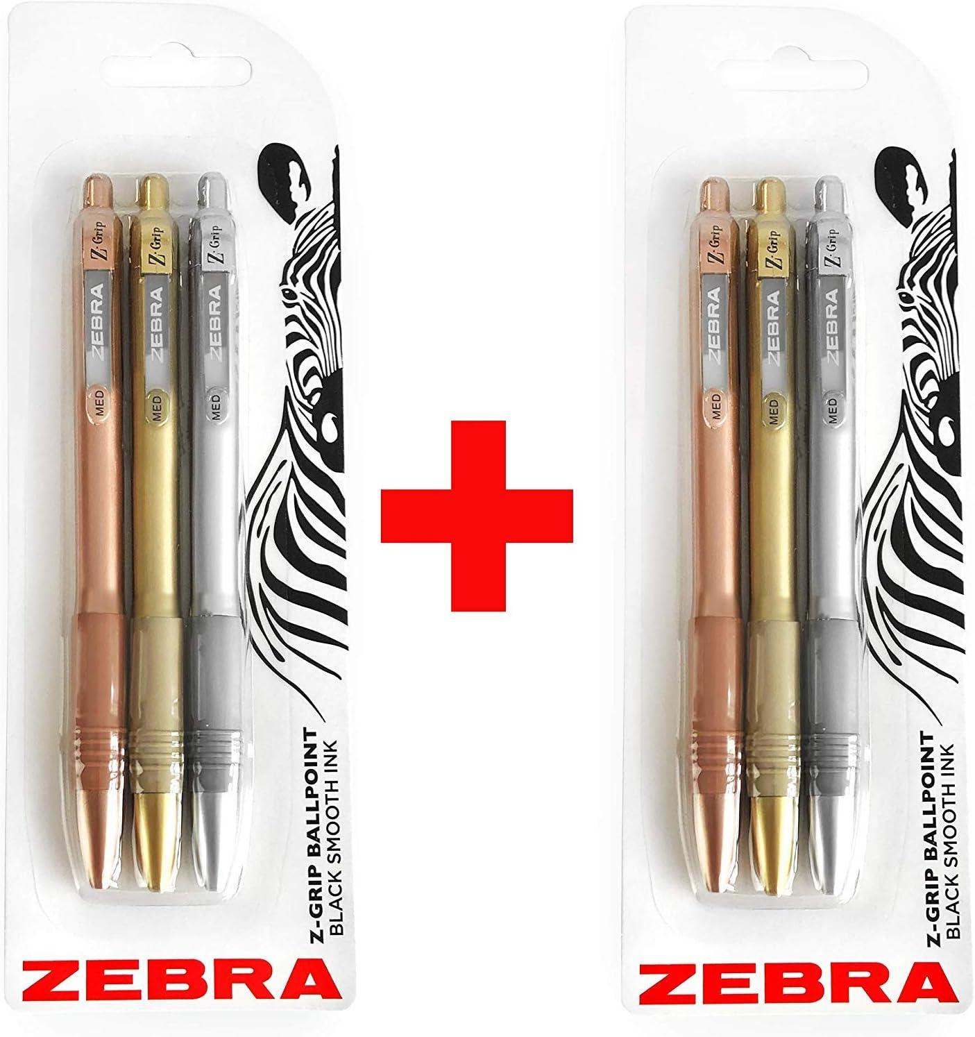6 x Zebra Z-Grip Smooth Ballpoint Pen 1.0mm Rose Gold Barrel Black Ink