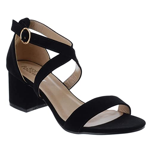 31b0e1f7a4e Miss Image UK Womens Low Mid Block Heel Strappy Open Peep Toe Ladies Ankle  Strap Party Sandals Shoes Size  Amazon.co.uk  Shoes   Bags