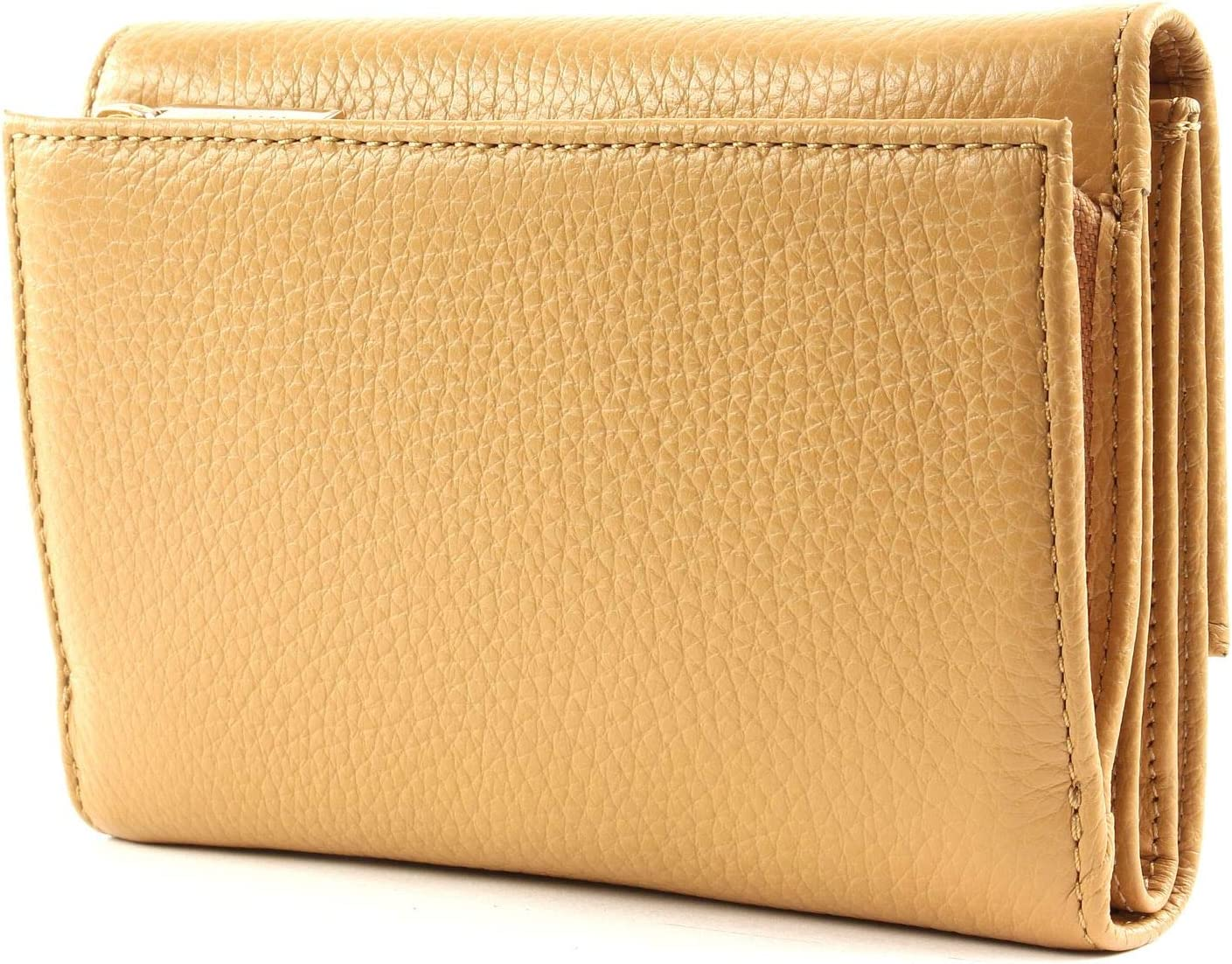 Coccinelle Flap Wallet metallizzato con Flap Wallet morbida Camel
