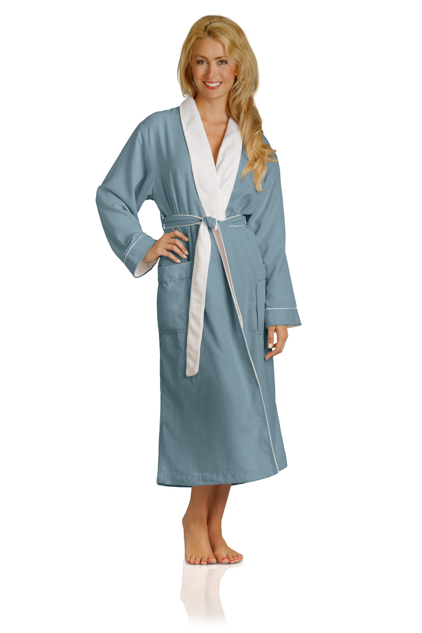 Luxury Spa Robe - Microfiber with Cotton Terry Lining, Aqua, XX-Large