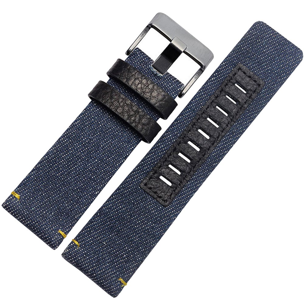 MSTRE 26mm Nylon and Calfskin Leather Watch Band Replacement Strap For Men's Diesel Watches (Blue)