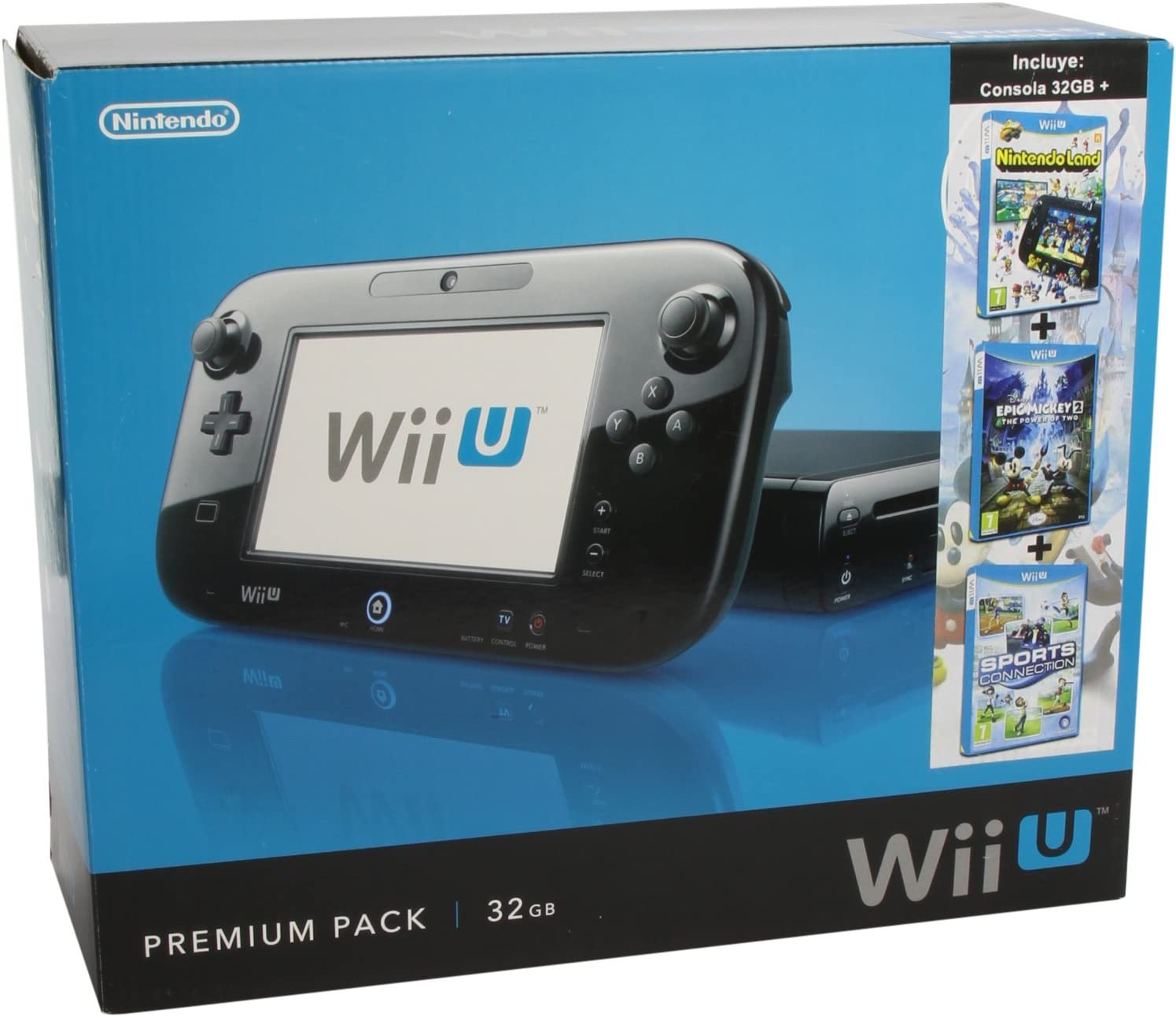 Nintendo Wii U - Triple Pack 7 Consola 32 GB Premium, Color Negro: Amazon.es: Videojuegos