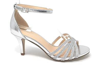 cb50d21ebe City Classified Comfort Womens JDKayna Strappy Rhinestone Open Toe Low Heel  Heeled-Sandals (5.5