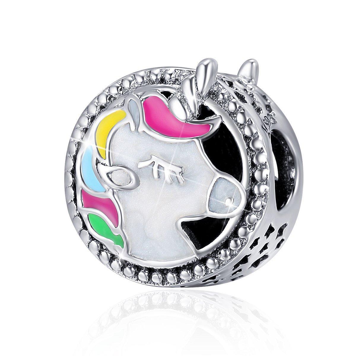 Forever Queen Unicorn Charm for Pandora Charm Bracelet, Round Shape Genuine 925 Sterling Silver Colorful Enamel Bead for Pandora European Bracelets BJ09002 by Forever Queen (Image #1)