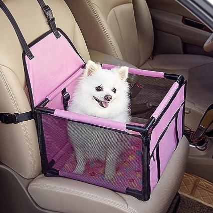 GENORTH Asiento del Coche de Seguridad para Mascotas Perro Gato Plegable Lavable Viaje Bolsas y Otra Mascota Peque?a con Cremallera Bolsillo (Rosa): Amazon.es: Productos para mascotas