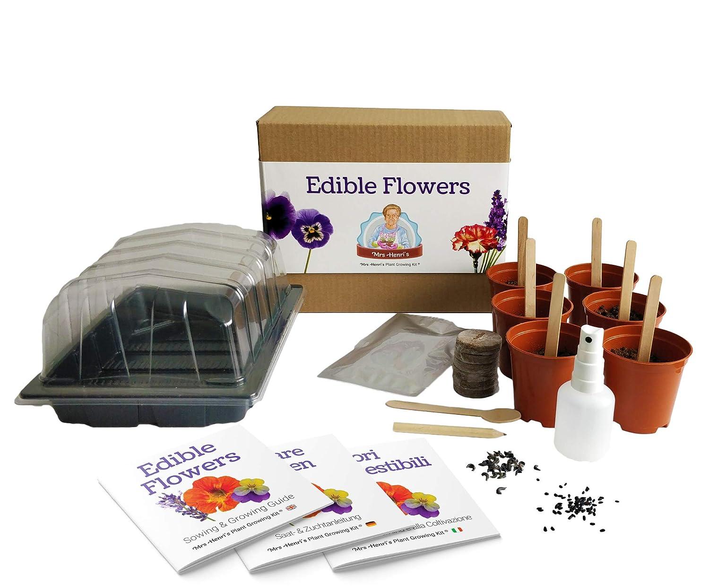 Essbare Blumen - Mrs Henri' s Plant Growing Kit. Zü chten Sie 6 essbare Blumen aus Samen. Das ideale Geschenk fü r alle Hobby-Kö che. Das Premium-Kit enthä lt alles, was Sie benö tigen, um Ihren eigenen essbaren Blumengarten