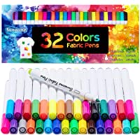 Fabric Markers Pen, 32 Colors Permanent Fabric Paint Pens Art Markers Set - Fine Tip, Child Safe & Non- Toxic for Canvas…