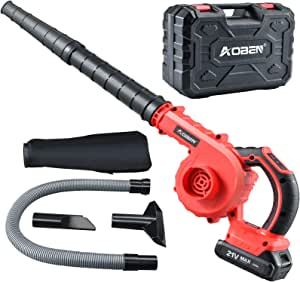 AOBEN Cordless Leaf Blower with Battery & Charger, Electric Leaf Blower 150 MPH for Yard Clean/Lawn Care/Garage, Lightweight Leaf Blower Battery Powered for Snow Blowing - Red