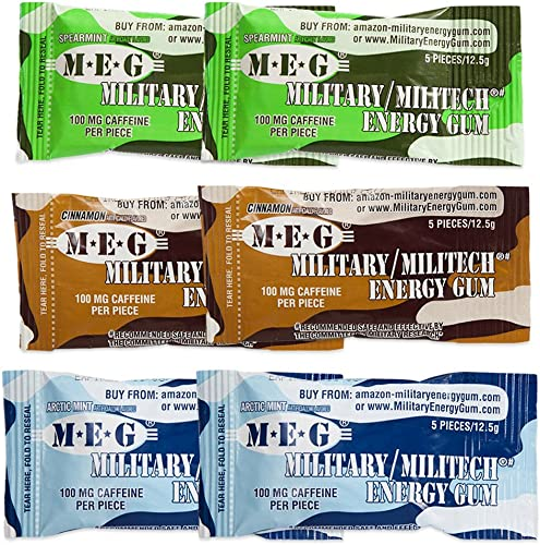 MEG – Military Energy Gum 100mg of Caffeine Per Piece Increase Energy Boost Physical Performance Multi Flavors of Arctic Mint, Spearmint, Cinnamon 6 Packs 30 Count