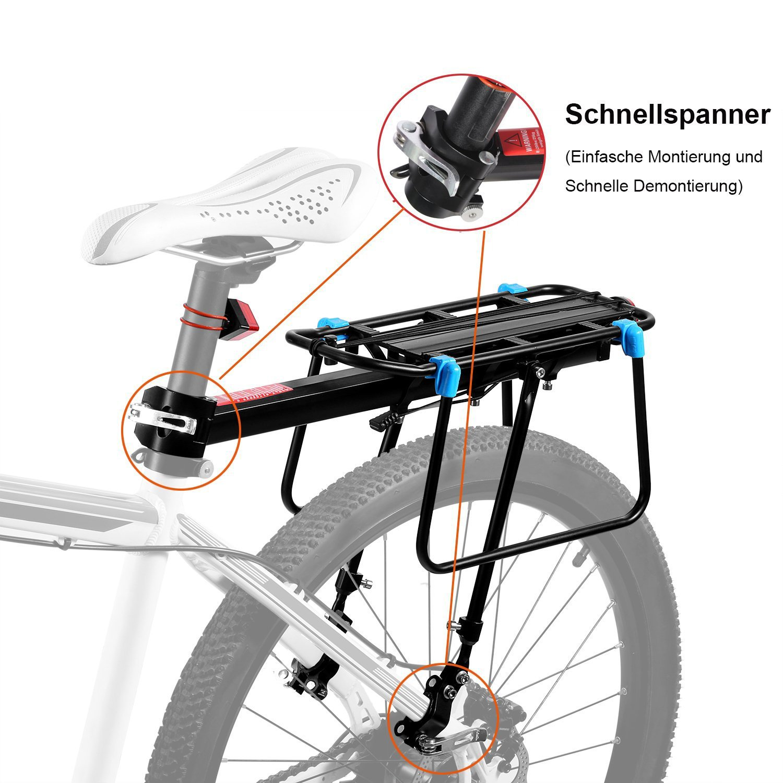 Baiker Mountainbike Gep/äcktr/äger Einstellbarer Mountainbike Gep/äcktr/äger Blaue W/ölbung Schnellspanner Sattelst/ütz Fahrradtr/äger Racks mit Reflektor F/ür MTB