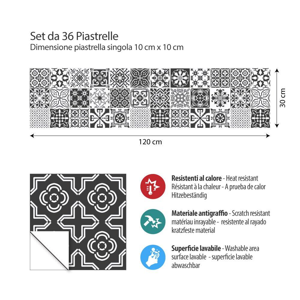 Noir et blanc floral 36 PIECES collage des tuiles adh/ésives PS00008-P carrelage adh/ésif 10x10 cm Adh/ésive d/écorative /à carreaux pour salle de bains et cuisine Stickers carrelage