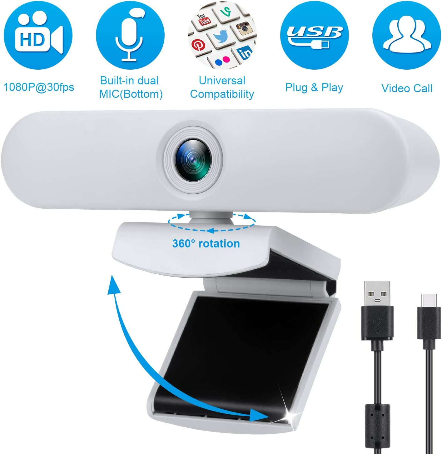 New Upgraded White Webcam with Dual Microphone, USB Computer 1080P HD Streaming Web Camera 360 Degree Rotatable for Desktop Laptop PC Mac with Flexible Rotatable Clip