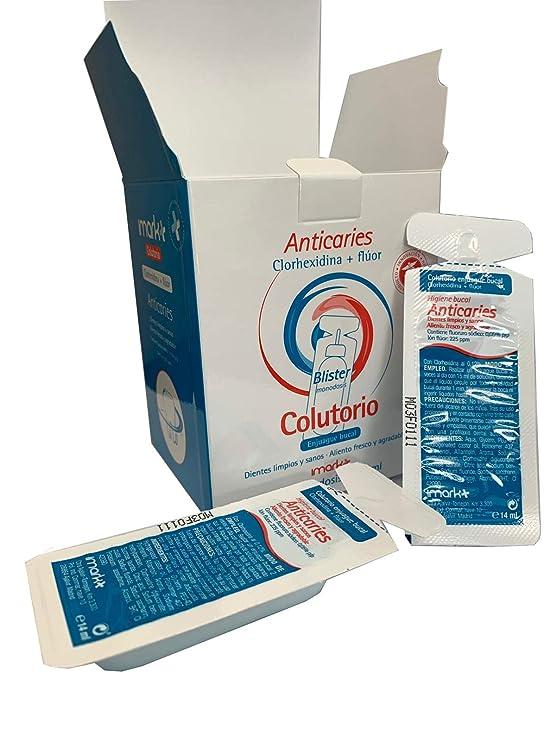 Colutorio enjuague bucal monodosis para viaje (Clorhexidina y Fluor): Amazon.es: Salud y cuidado personal
