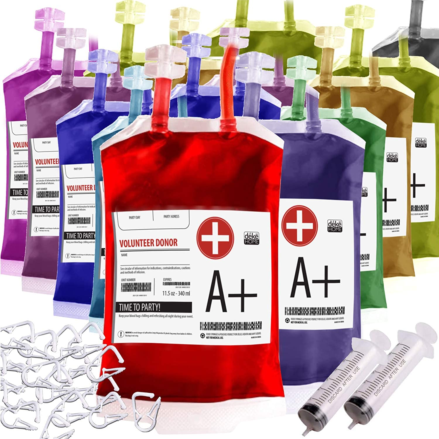 Blood Bag drinking. Set of 20 fake iv Blood Bags for Drinks, 11.5Oz, with Extra Syringe Set of 20 Labels and Clips. Drink pouches Halloween/Vampire/Zombie/Nurse Graduation/decorations Party suplies